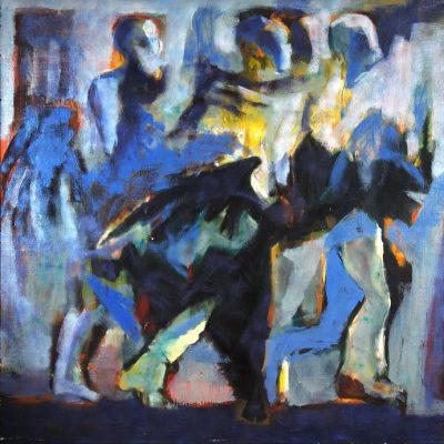 Müslüm Abbasov, Körler, Tuval üzerine yağlıboya, 170x170 cm.