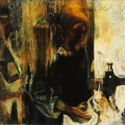 Müslüm Abbasov, Terzi, Tuval üzerine yağlıboya, 90x90 cm.