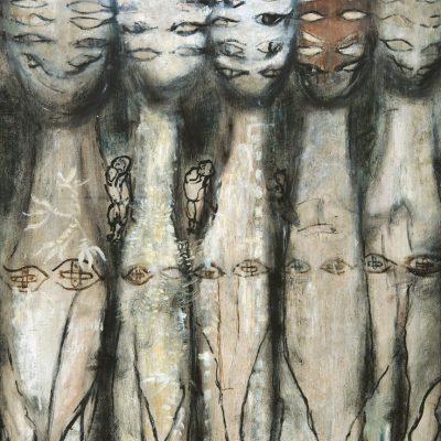 Aliye Berger, Kediler ve İnsanlar, Tuval üzerine yağlıboya, 132x93 cm.