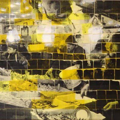 Ardan Özmenoğlu, 2 kilo 5, 2012, Screenprint on post it notes and mixed media, 73x112 cm.