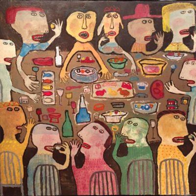 Indra Dodi, Dinner, 2016, Acrylic on canvas, 150x160 cm.