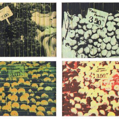 Ardan Özmenoğlu, Fruit Crates, 2012, Mixed media on post-it notes, 38,5 x 55 cm. (each of the four pieces)