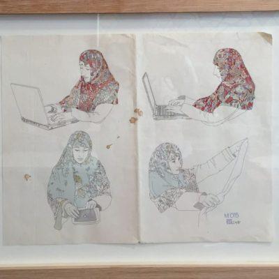 Maya Sumbadze, Untitled, 2015, Digital print, watercolor, gouache, 30x38 cm.