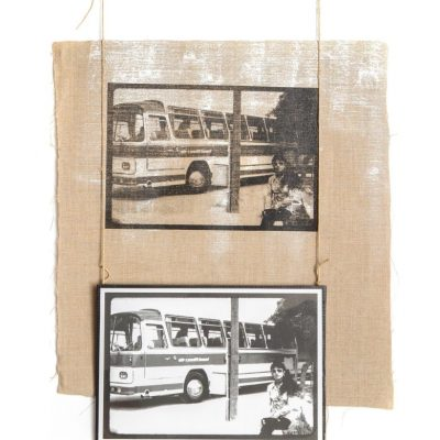 Manal AlDowayan, The Bus II, 2015, Paint and silkscreen ink on canvas and paper, 46x68 cm.