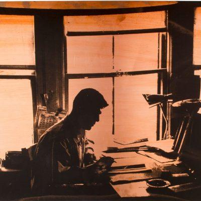Manal AlDowayan, The Desk I, 2015, Silkscreen ink on copper, 70x45cm.