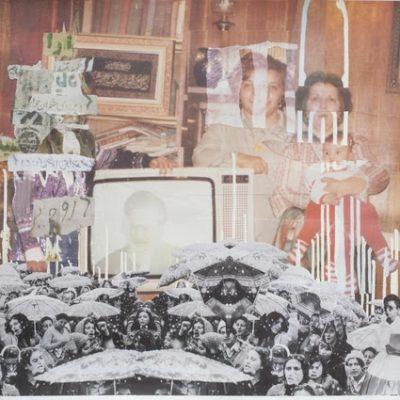 Ramin Haerizadeh, First Rain's always a surprise, 2015, Kağıt üzerine kolaj, akrilik, mürekkep ve ruj, 70x100 cm.