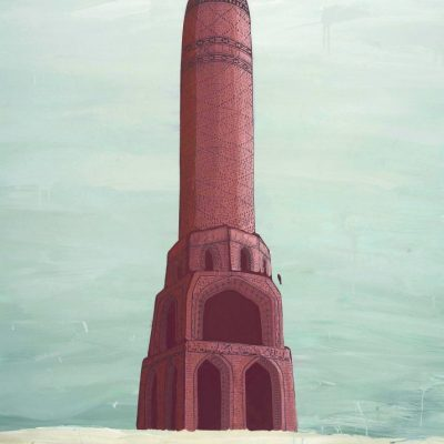 Shahpour Pouyan, Bahram gour Tower, 2010, Acrylic on canvas, 102 x 145cm.