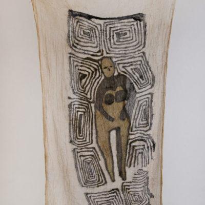 Güneş Terkol, Tıkanmış biri, 2017, weaving and sewing on natural dyed fabric, 155x60 cm.