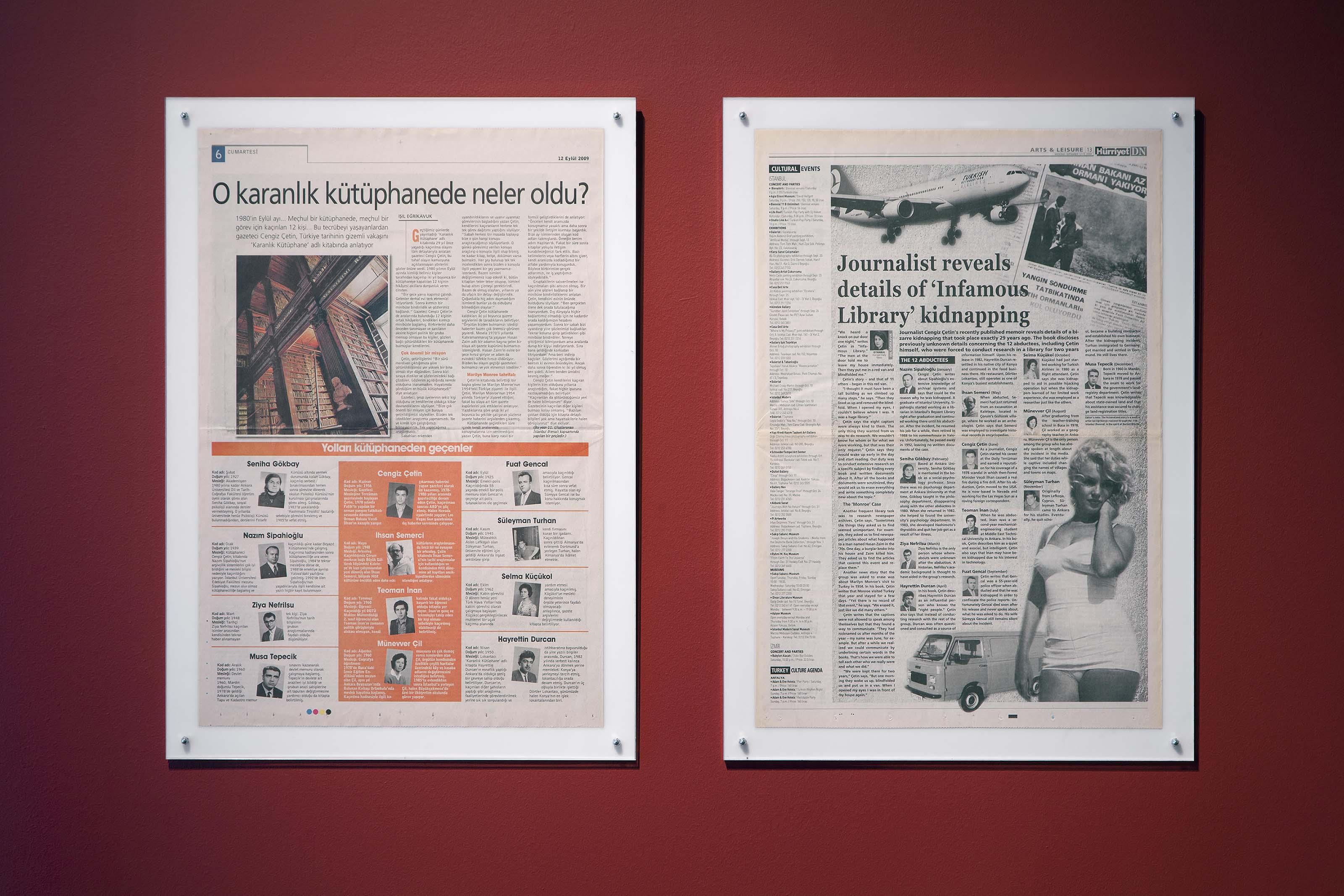 Işıl Eğrikavuk, Infamous Library, 2009, Newspaper project, diptych (Radikal – Hürriyet Daily News, 12.09.2009) 1+ 1 AP Ebat: 45 X 65 cm.