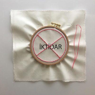 Nancy Atakan, Pure thought series- Power, sewing circle, thread, needle, digital print, 37,5x37,5 cm.