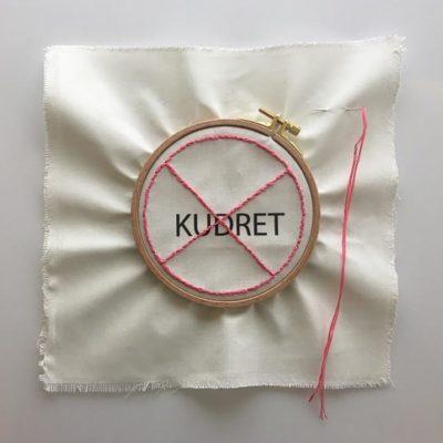 Nancy Atakan, Pure thought series- Might, sewing circle, thread, needle, digital print, 37,5x37,5 cm.