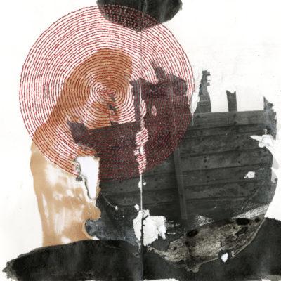 Radhika Khimji, Boat I, 2016, kağıt üzerine dijital transfer mürekkep, iplik ve kalem, 20,5x25,7 cm.