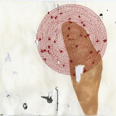 Radhika Khimji, Boat II, 2016, kağıt üzerine dijital transfer mürekkep, iplik ve kalem, 20,5x25,7 cm.