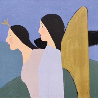 "Gülsün Karamustafa, 1990's, ""The promised pictures"" series, Oil on canvas, 62x70 cm."