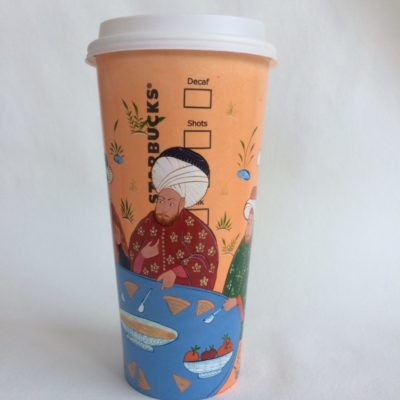 Onur Hastürk,  Festval Book Series, No:27, 2017, Miniature art on Starbucks Paper Cup, Mixed media , acrylic and gold, 17x9x9 cm.