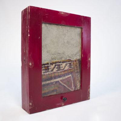 Ramazan Can, Cabinet /Closet series, 2017, wood, concrete, weave, 38,5x50x10 cm.