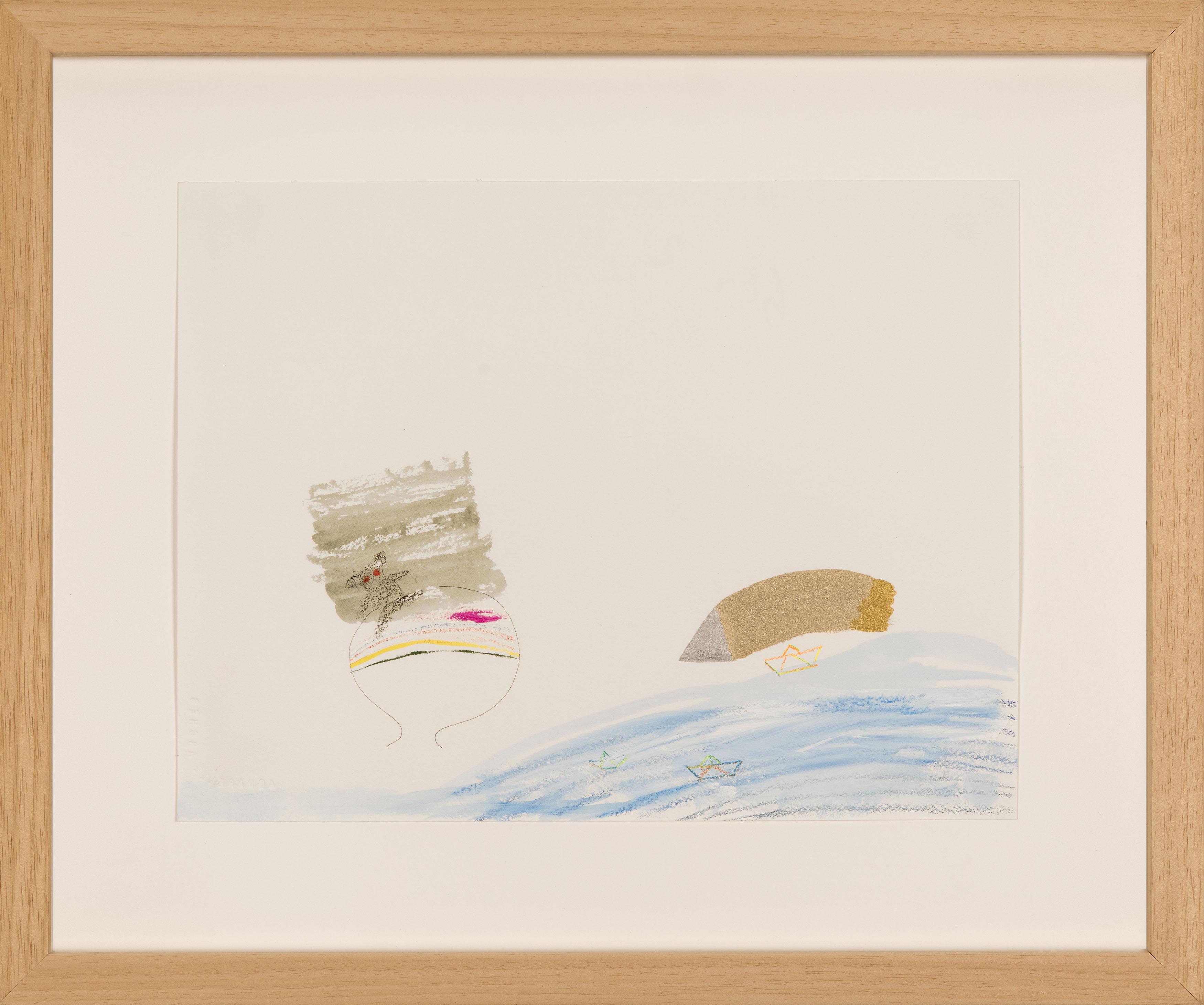 Nilbar Güreş, Göç ve Kağıt Gemiyle Gezen Ülkeler, 2016, Kağıt üzerine karışık teknik, 24,5 x 32 cm. (Photo Credit: Chroma)