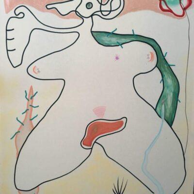 Merve İşeri, Gut, 2018, Tuval üzerine yağlıboya, akrilik ve pastel, 170x30x5 cm.