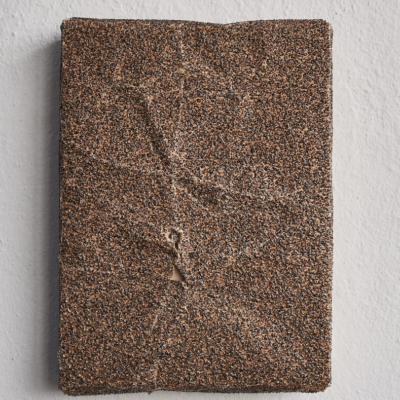 Ahmet Civelek, Untitled (Brown, 36 Grit), 2018, Sandpaper on wooden panel, 20,5x15,5 cm.