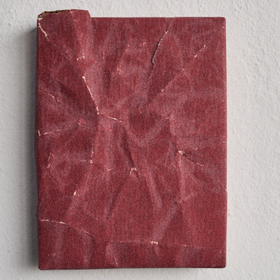 Ahmet Civelek, Untitled (Red, 120 Grit), 2018, Sandpaper on wooden panel, 20,5x15,5 cm.
