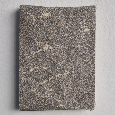 Ahmet Civelek, Untitled (Grey, 40 Grit), 2018, Sandpaper on wooden panel, 20,5x15,5 cm.