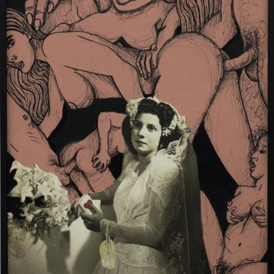 Rosangela Renno, Sem titulo (porno Universal e cortina de seda)- da seria Nuptia, 2017, fotoğraf üzerine karışık teknik, 25x31 cm. (her biri) diptik.