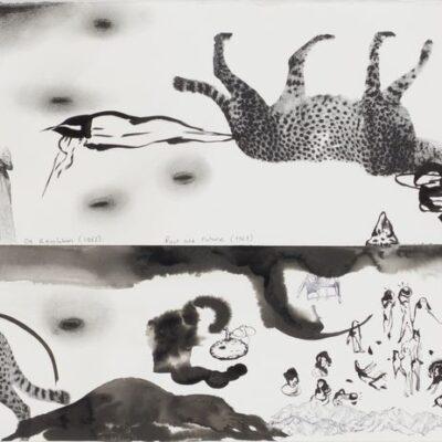 İnci Eviner, 2020, Mürekkep, Kağıt üzerine kara kalem ve serigrafi, 45x230 cm.