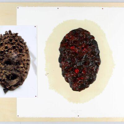 Sarkis, 2014.02 d'après masque KRAN, 2014, Archival inkjet print, oil paint on Arches paper 300 g, on wood and plexiglass case, 65x84x7 cm.