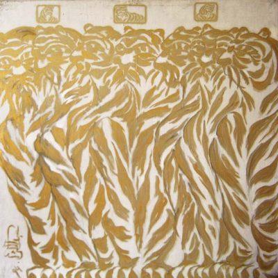 İsa Abdülkerim,1994, Tuval üzerine karışık teknik, 129x129 cm.