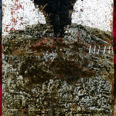 Suat Akdemir, 2008, Acrylic, combustion, marble dust, ash, burnt wood and earth on canvas, 205x145 cm.