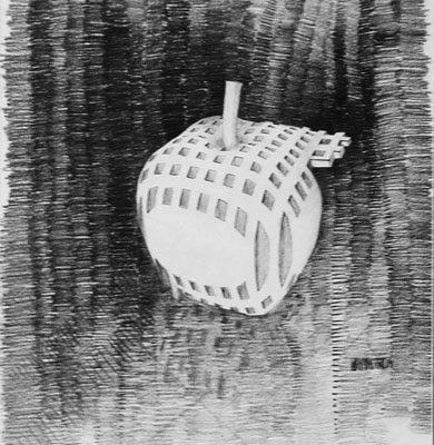Rahmi Aksungur, E., 2003, Kağıt üzerine füzen, 48x34 cm.