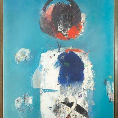 Habip Aydoğdu, Melancholy of the bird in blues, 1995, Oil on canvas, 190x143 cm.