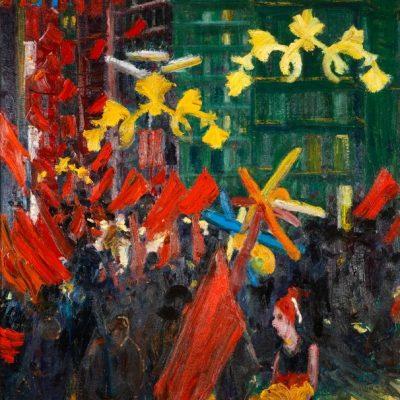 Resul Aytemür, Bairam in Beyoğlu, 2005, Oil on canvas, 165x150 cm.