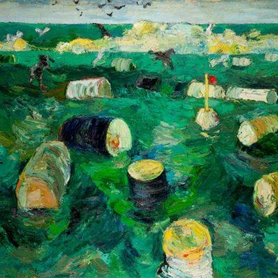 Resul Aytemür, Barrels, 1991, Oil on canvas, 130x170 cm.