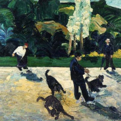 Resul Aytemür, People with their dogs in the park, 1993, Oil on canvas, 130x145 cm.