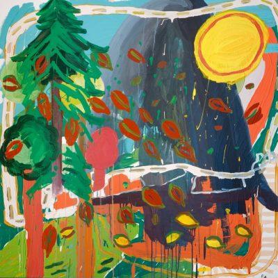 Filiz Azak, Manzara, 2005, Tuval üzerine akrilik, 100x100 cm.