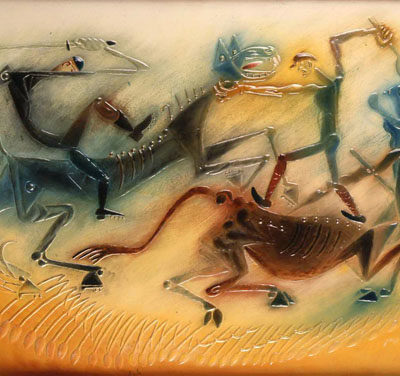 İbrahim Balaban, 1974, Duralit üzerine kabartma, 53x76 cm.