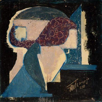 Ferruh Başağa, Bacchus, 1950, Oil on canvas, 22x23 cm.