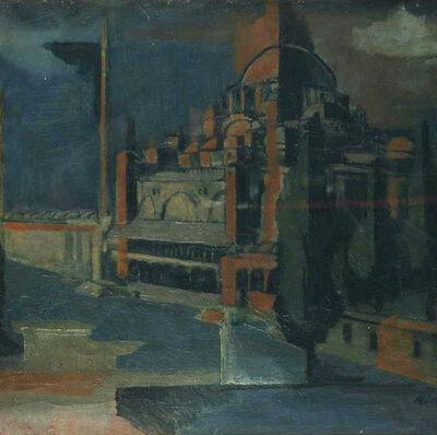 Ferruh Başağa, Sultan Ahmet Camii, 1947, Oil on canvas, 45x62 cm.
