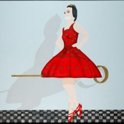 Kezban Arca Batıbeki, Don't say a word, 2007, Acrylic and saquin on canvas, 150x200 cm.