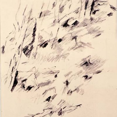 Jean Rene Bazaine, 1955, Charcoal on paper, 31x22 cm.