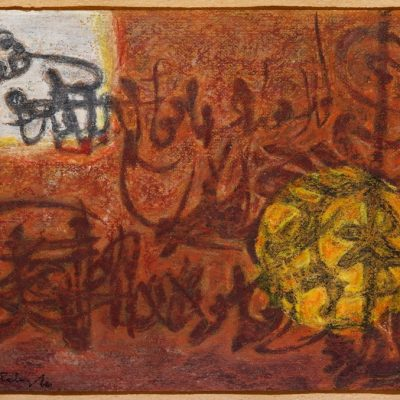 Abidin Elderoğlu, Calligraphic Abstraction, Mixed media on paper, 26x39 cm.