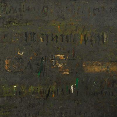 Muhic Hamzalija, Landscape, 2002, Mixed media, 100x110 cm.
