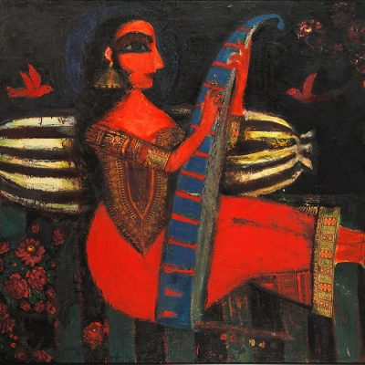 Eldar Kurbanov, Portrait of Mehseti Gencevi, 1987,Mix media on canvas, 150x200 cm.