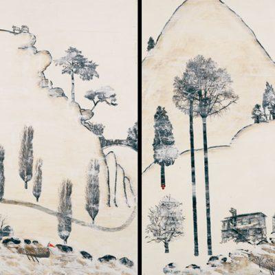 Murat Morova, Menazir-i mersiyye, 2007, Tuval üzerine su bazlı alçıtaşı, zift, mürekkep, keçeli kalem, 120 x 120 cm.(her bir parçanın boyutu)