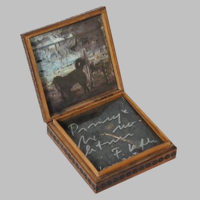 Edin Numankadic, Sarajevo Box 1992-96, Mixed material in wooden box, 14,5x14,5x16,5 cm.