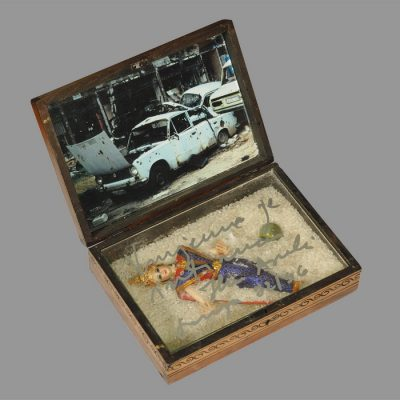 Edin Numankadic, Sarajevo Box 1992-96, Mixed material in wooden box,17x24x20 cm.