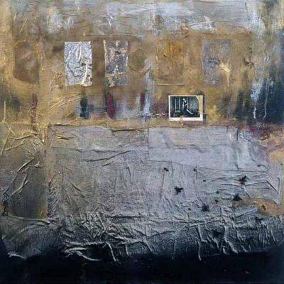 Talant Ogobaev, 2002, Mixed media on canvas, 80x80 cm.