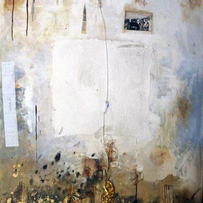 Talant Ogobaev,1999, Mixed media on canvas, 140x110 cm.