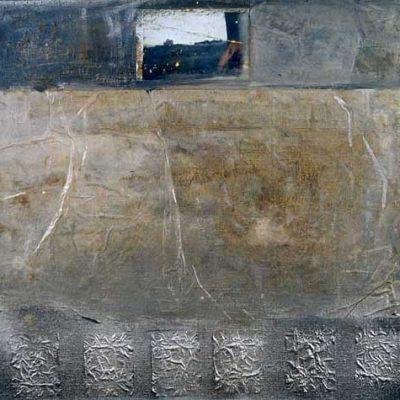 Talant Ogobaev,1999, Mixed media on canvas, 55x63 cm.